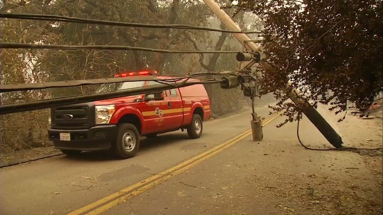 This undated photo shows downed power lines in Butte County, Calif.
