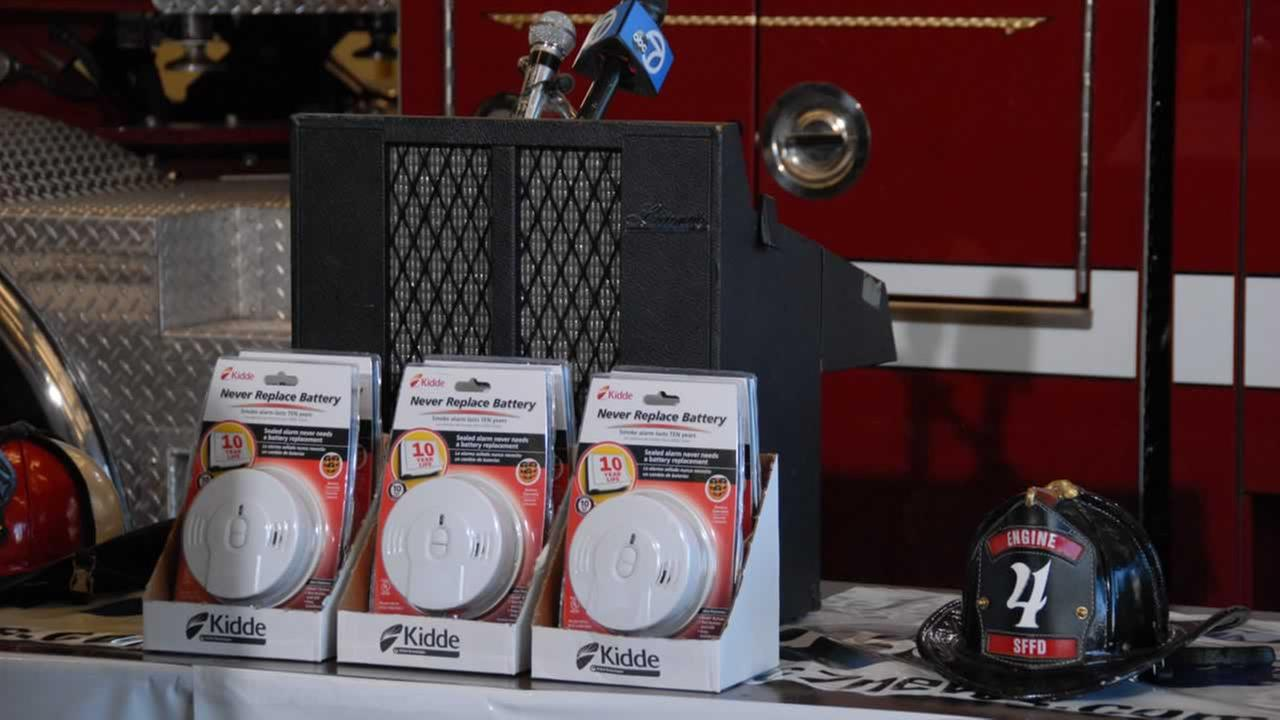 Bay Area fire departments, Home Depot and ABC7 News distributed smoke alarms and CO detectors donated by Kidde at Station 4 Fire Dept. in San Francisco on Thursday, Nov. 12, 2015.