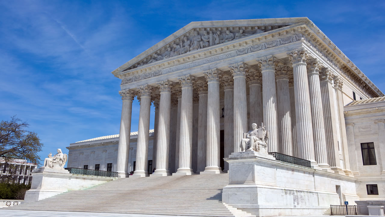 This undated image shows the United States Supreme Court building is located in Washington, D.C.
