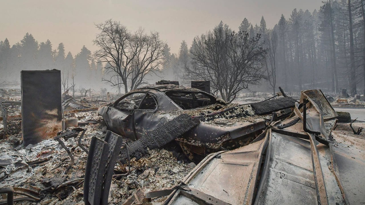A burned car is pictured in Paradise, Calif. in November 2018.