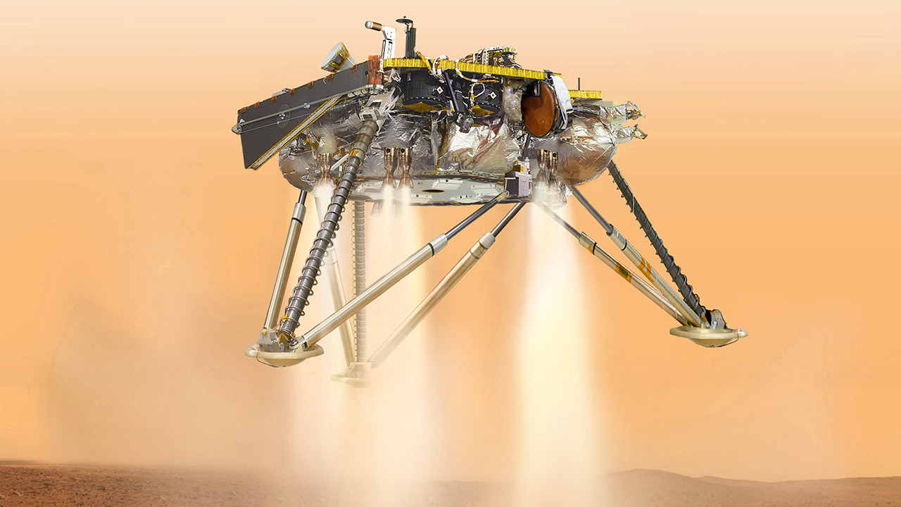 Illustration of NASAs InSight lander about to land on the surface of Mars.