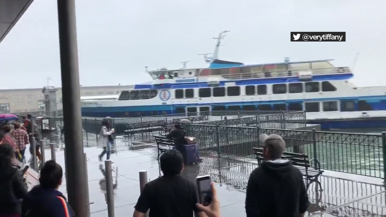 Panic struck a crowd of onlookers as they watched a ferry crash into a dock at the Ferry Building in San Francisco.