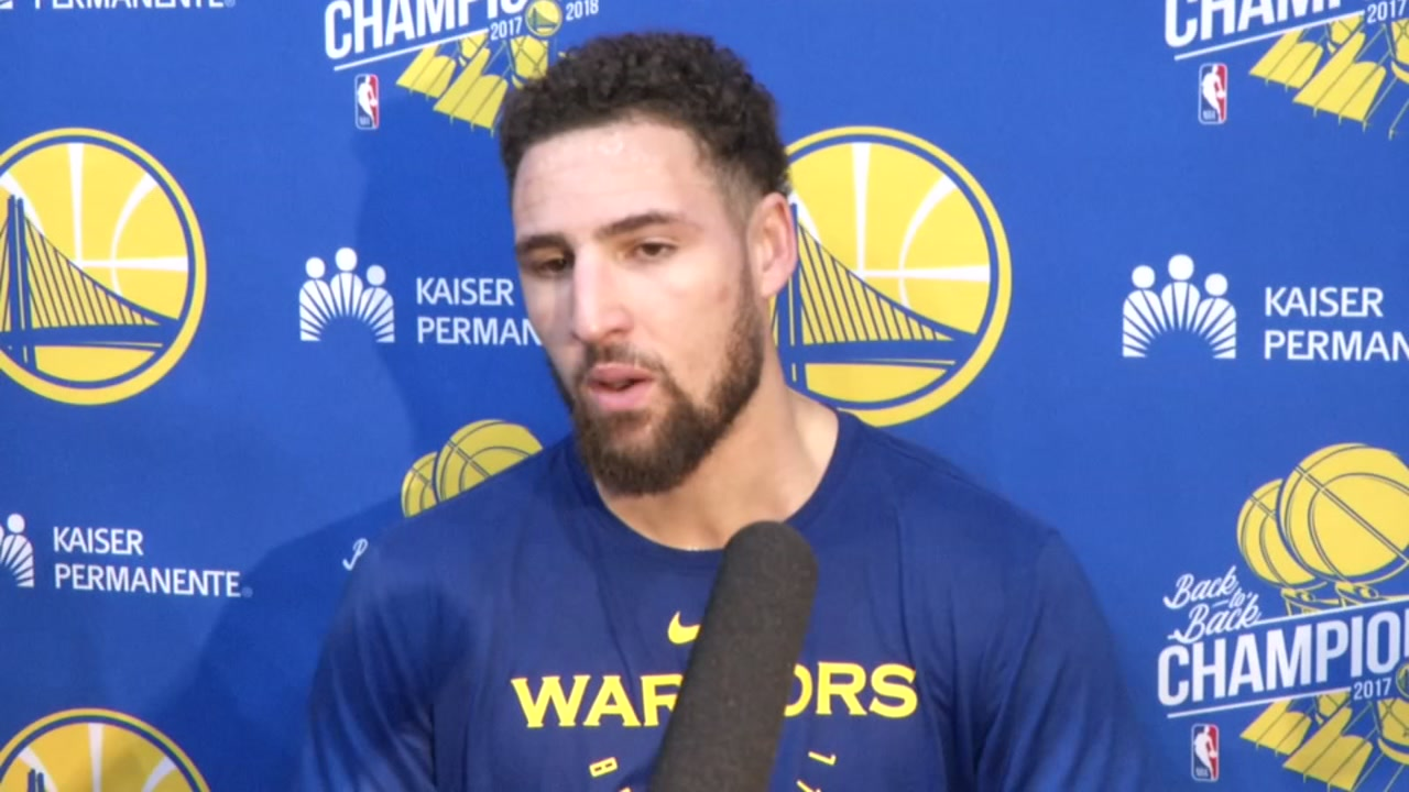 Warriors Klay Thompson talks about Stephen Currys car crash on Friday, Nov. 23, 2018 in Oakland, Calif.