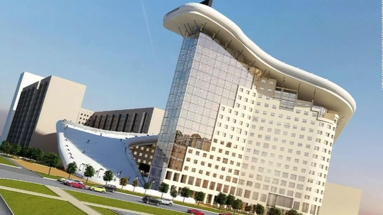 This animation shows an architects plan for a 1,000-foot ski slope in the center of downtown Kazakhstan.
