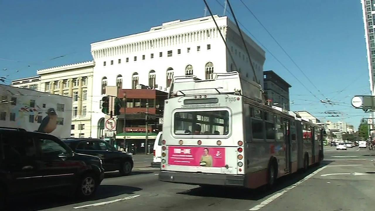 A Muni bus is seen in San Francisco, Calif. in this undated image.