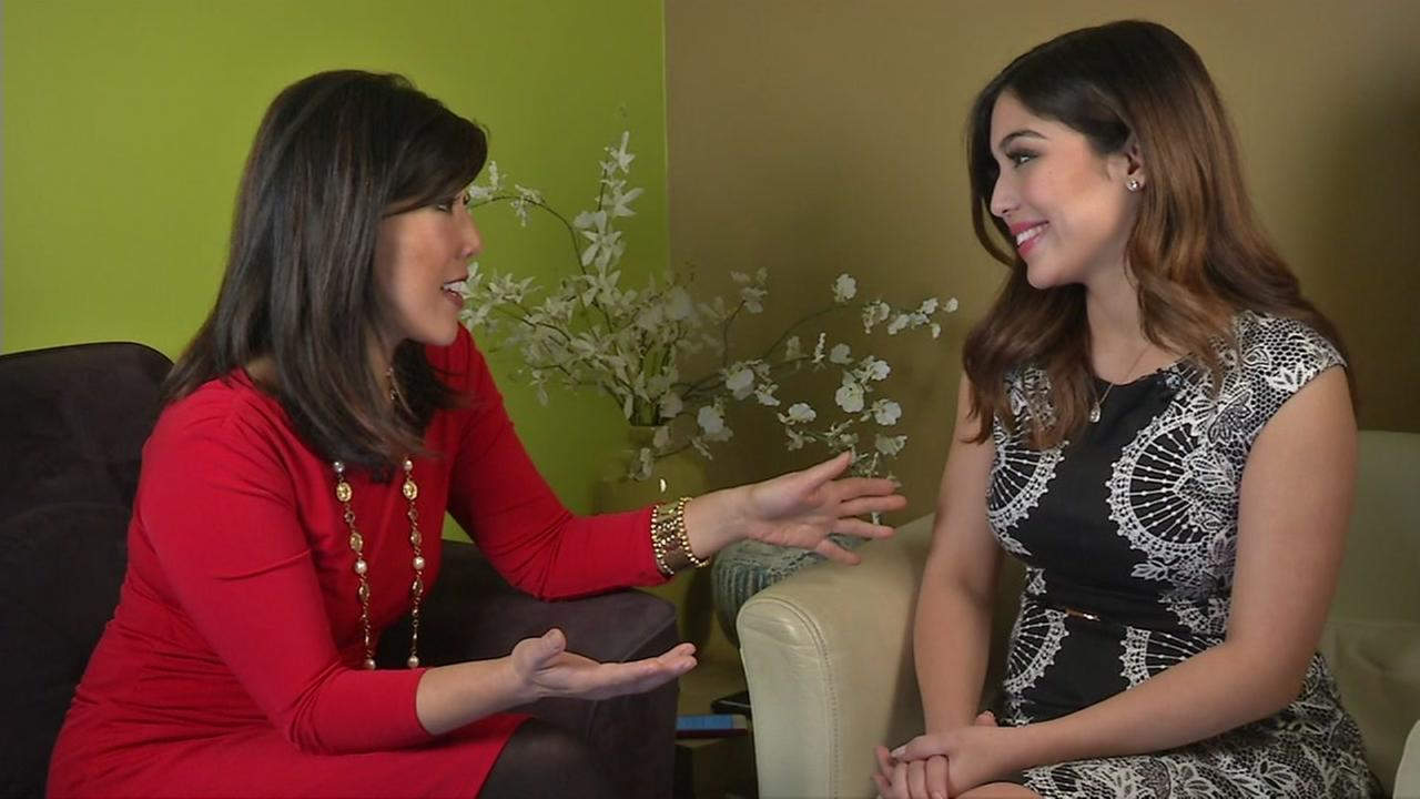 ABC7s veteran anchor Kristen Sze talks to newcomer Natasha Zouves in San Francisco on Wednesday, December 16, 2015.