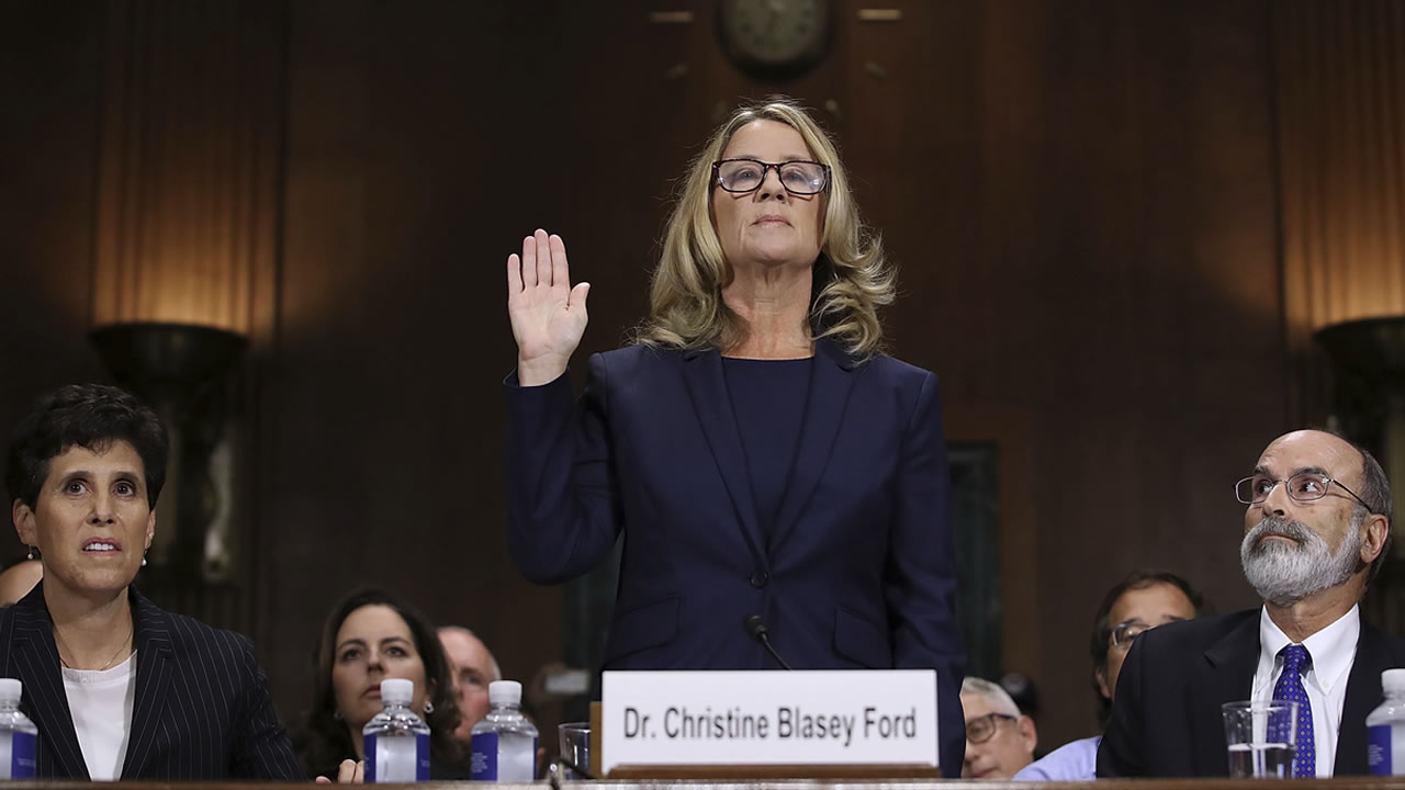 Christine Blasey Ford is sworn in before the Senate Judiciary Committee, Thursday, Sept. 27, 2018 in Washington.