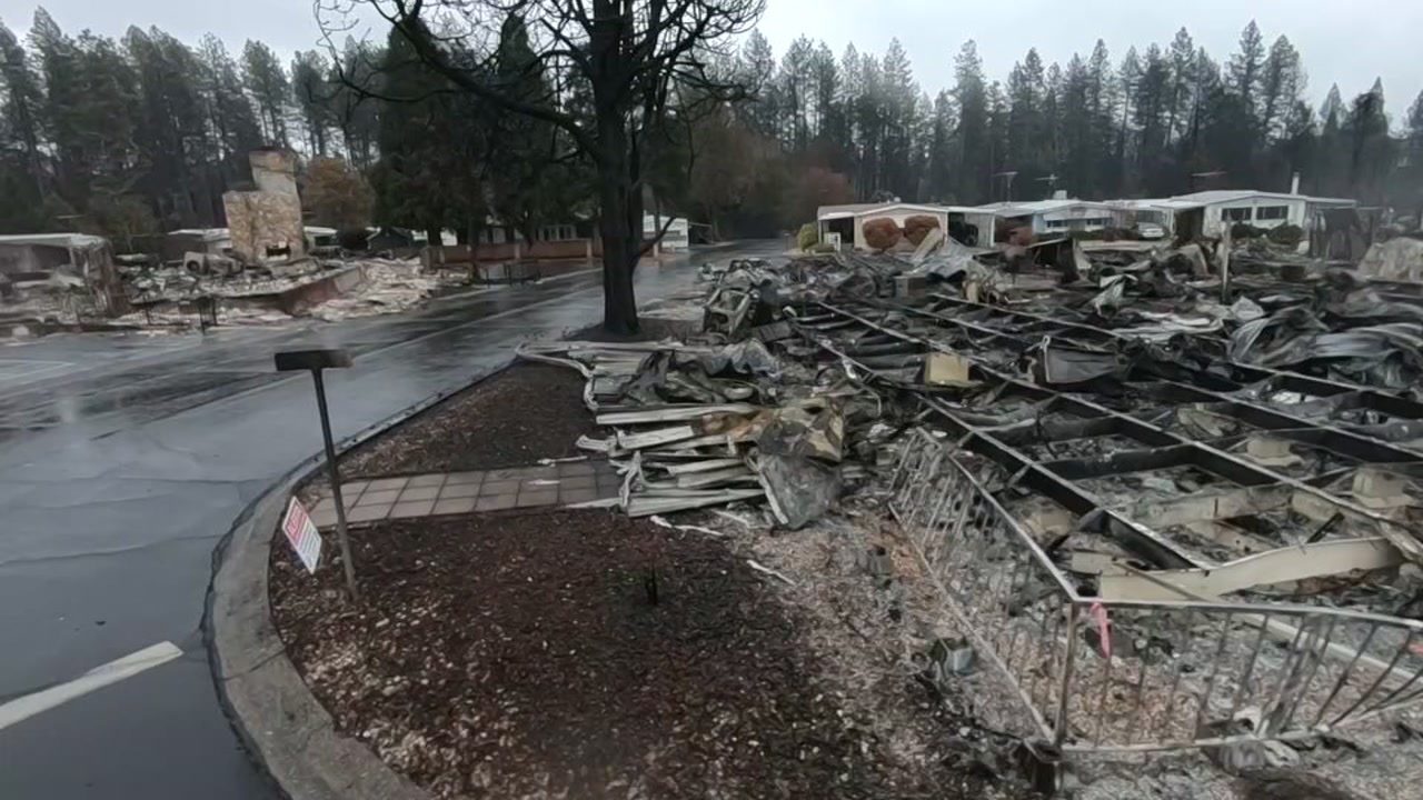 Rubble left behind by the Camp Fire in the town of Paradise, Calif.
