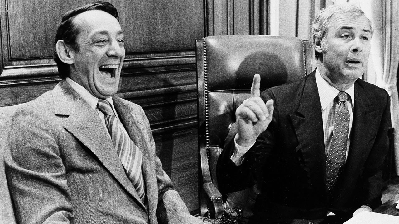 In this 1977 file photo, seen are San Francisco Supervisor Harvey Milk, left and Mayor George Moscone. (AP Photo)