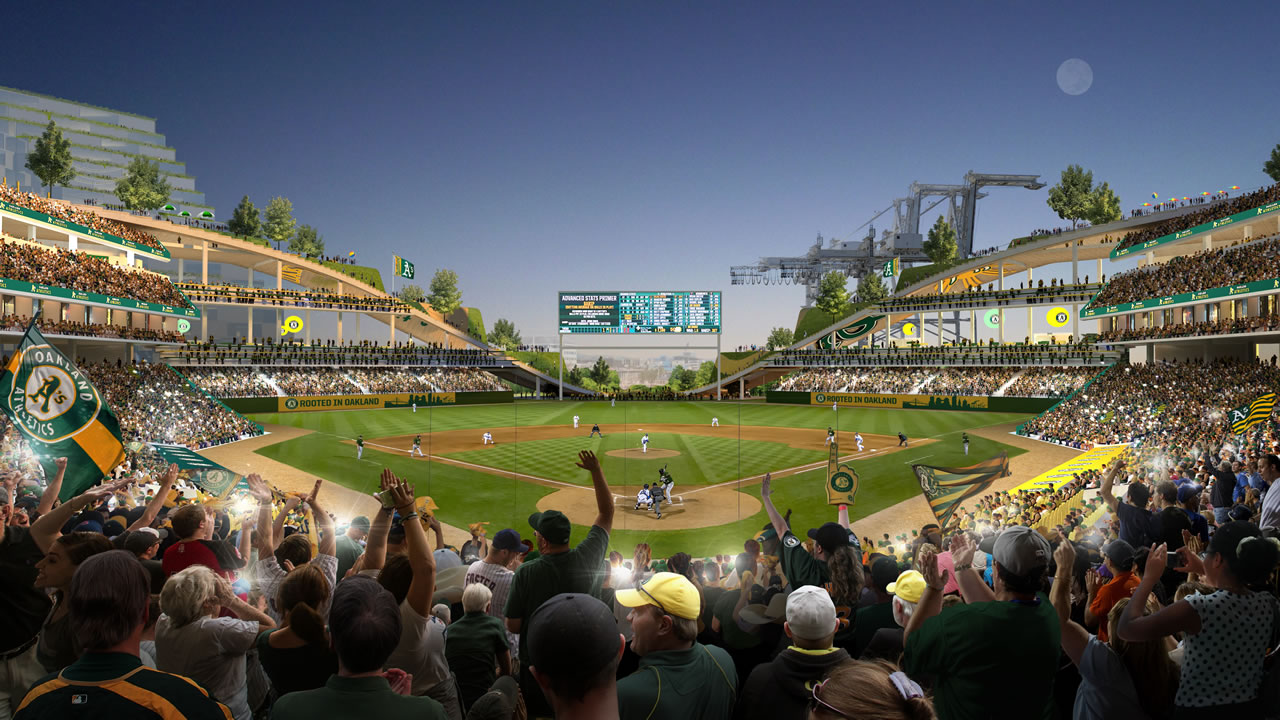 The Athletics released this rendering of their vision for a new stadium at Howard Terminal in Oakland, Calif.