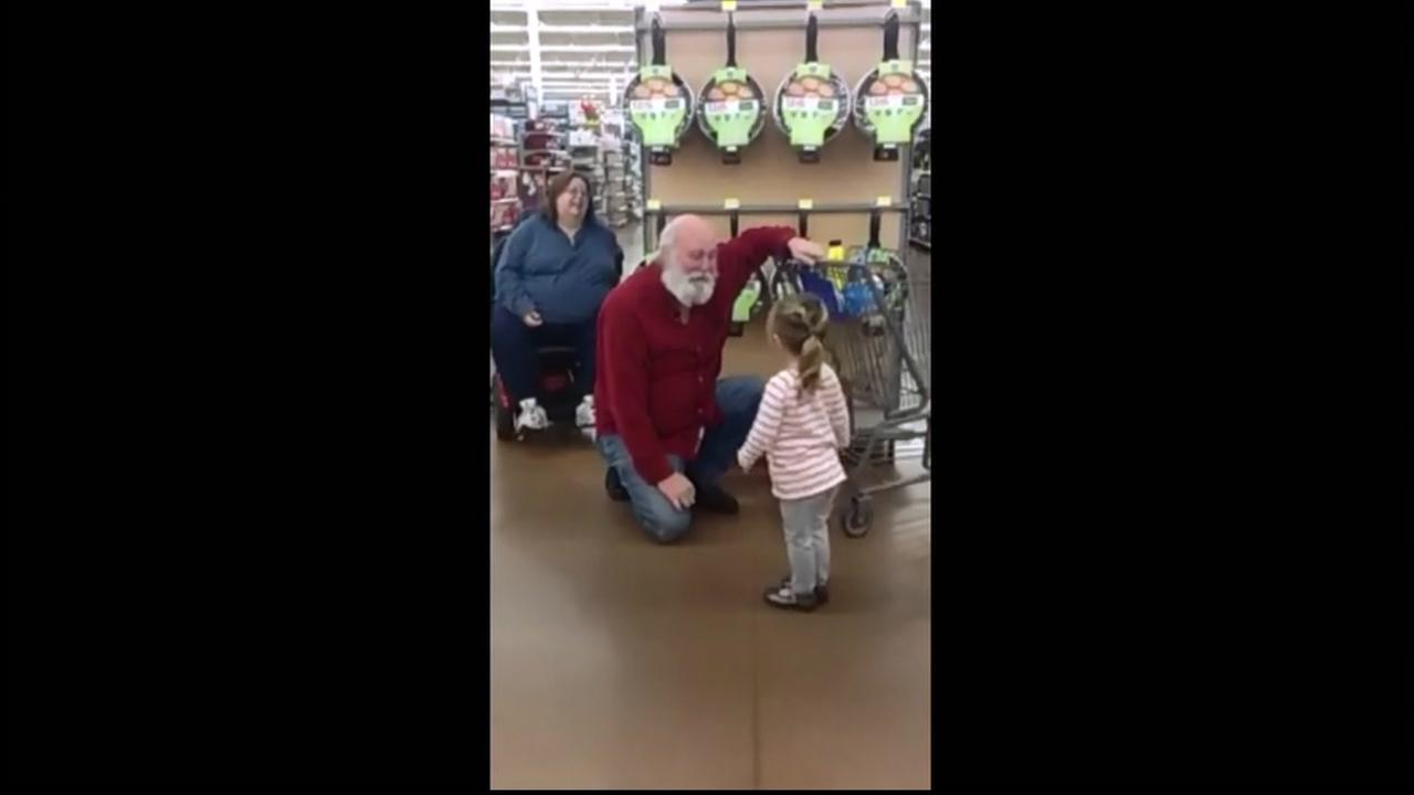 A young girl ran into Santa while shopping with her parents at a West Virginia store.