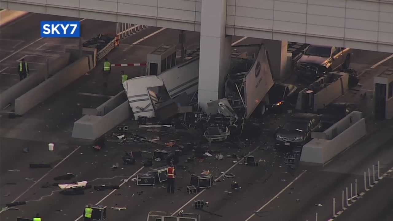 The aftermath of a fatal crash is seen at the Bay Bridge toll plaza in Oakland, Calif. on Saturday, December 2, 2017.