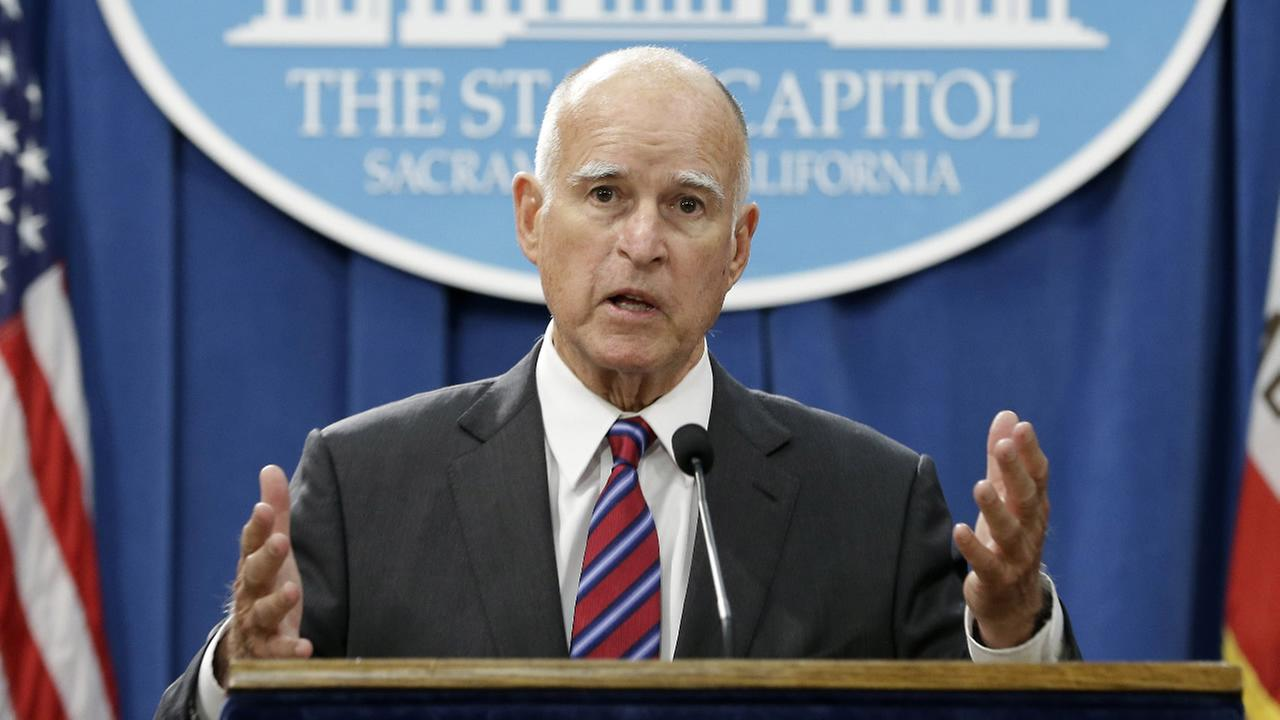 FILE - In this Wednesday, Sept. 9, 2015, file photo, California Gov. Jerry Brown gestures during a news conference, in Sacramento, Calif.