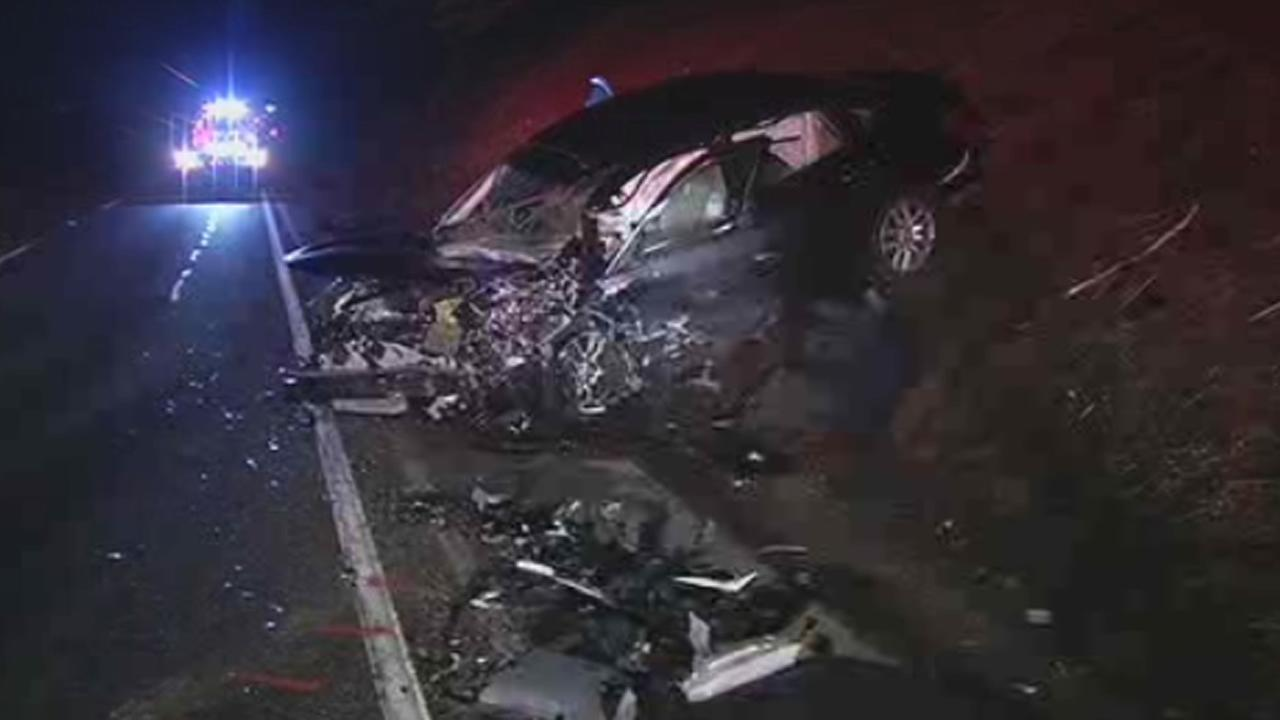 The California Highway Patrol says two people have been killed in a crash on northbound state Highway 1 in Pacifica, Calif., on Friday, December 25, 2015.