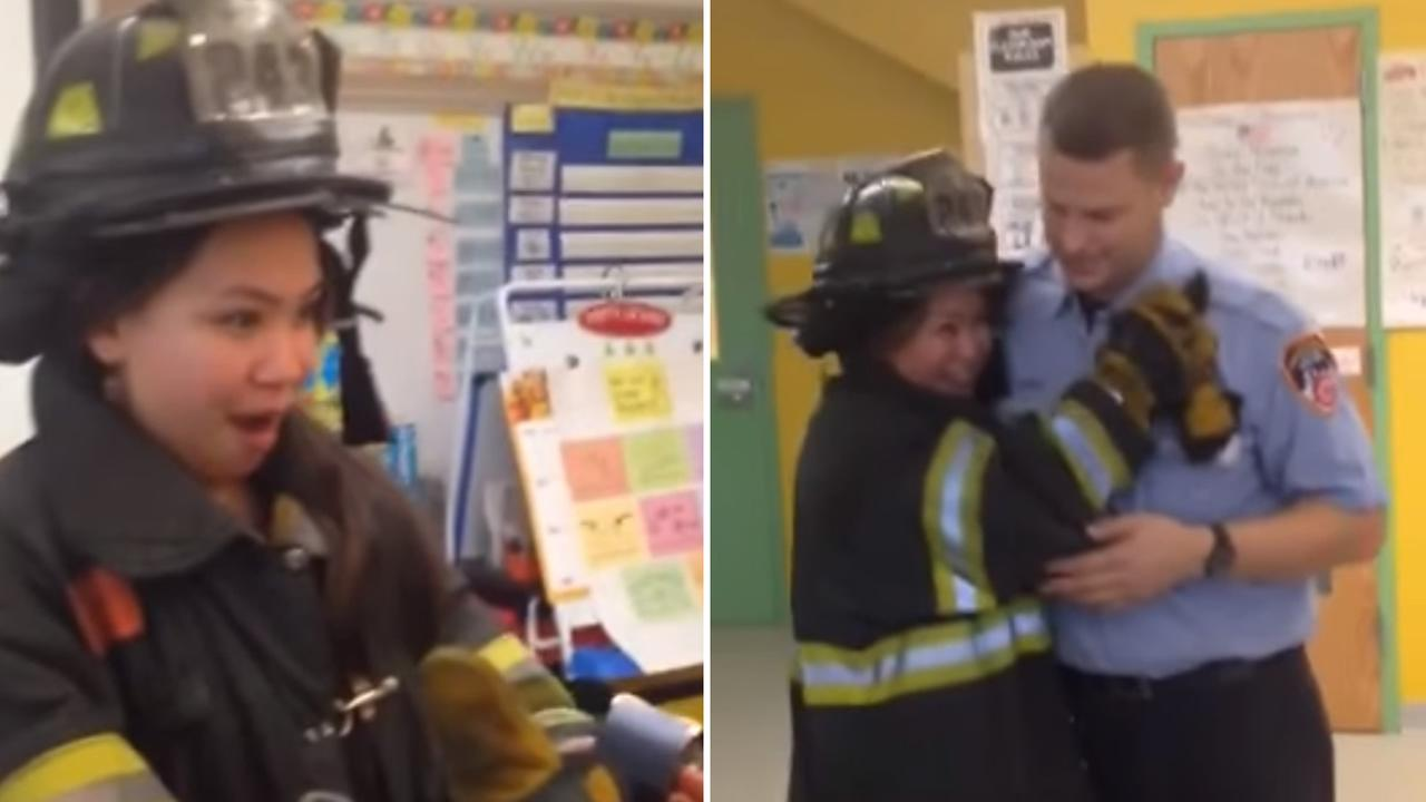 Lieutenant David Royael, of Engine 243 in Brooklyn, proposed to his now-fiancee, kindergarten teacher Natalie Moy, at PS 361 in Queens, New York on December 23, 2015.