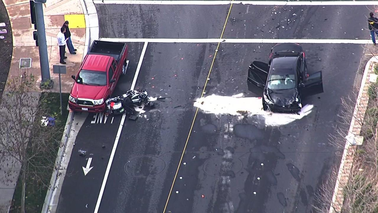 An officer on a motorcycle sustained a major leg injury in a crash in Dublin, Calif. on December 30, 2015.