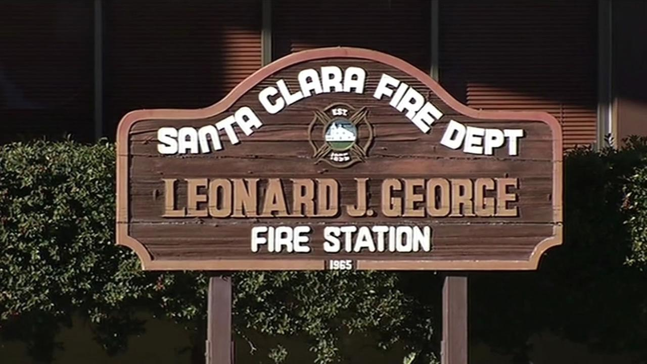 A sign for the Leonard J. George Fire Station is seen in Santa Clara, Calif. on Thursday, December 31, 2015.