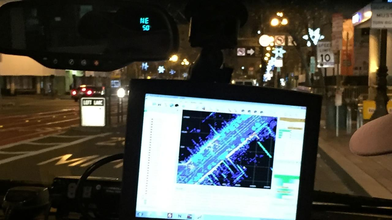 Crews with San Francisco Public Works were out conducting a 3D survey of Market Street on Saturday, January 2, 2016.