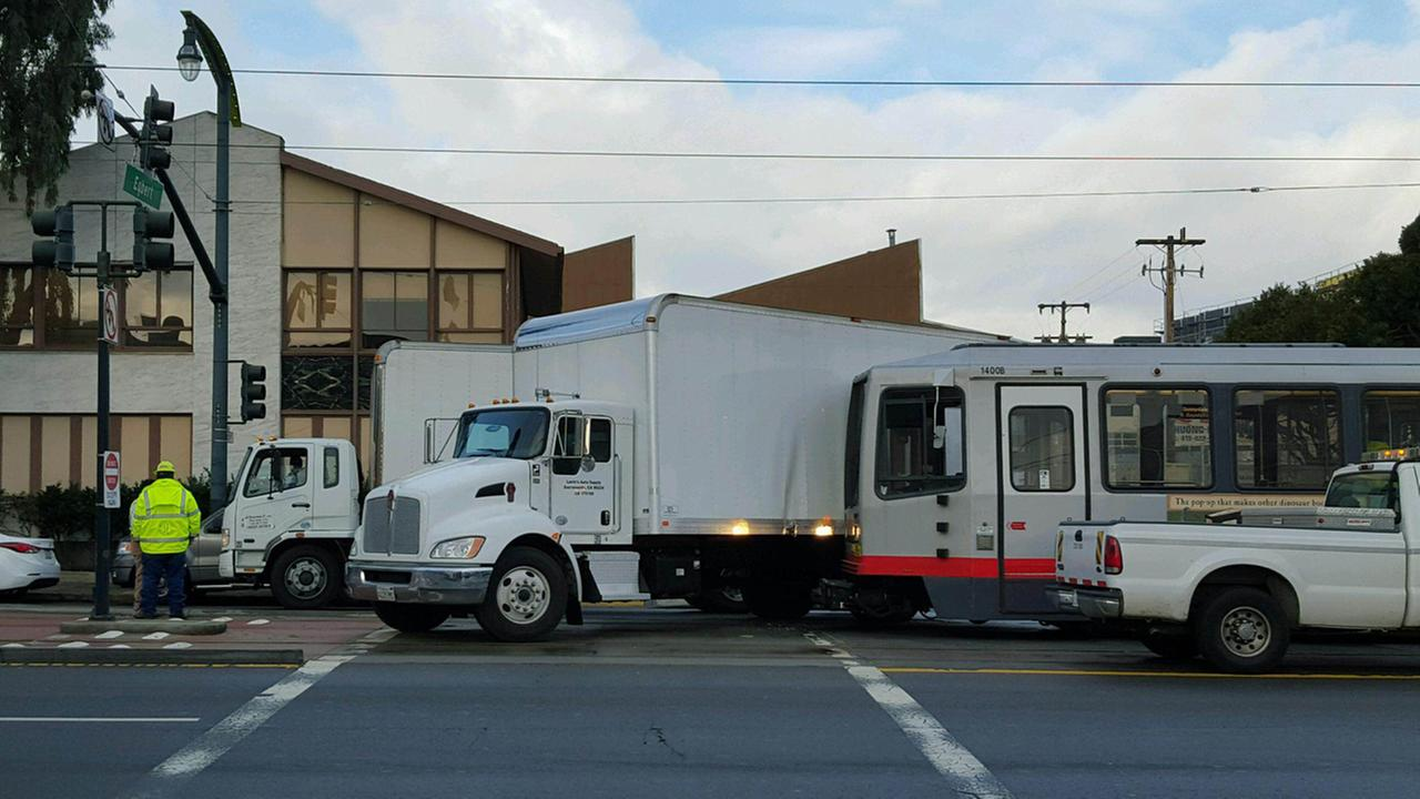 Five people have been transported to the hospital after a Muni train got into an accident with a truck, Monday, January 4, 2016.