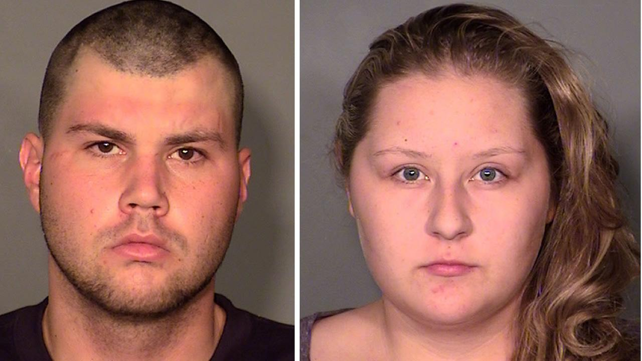 Twenty-seven-year-old Kyle Staats, left, and 19-year-old and Megan Hippie, right, are accused of fatally shooting 42-year-old Neil Brian Gandler on December 29, 2015 in Las Vegas.
