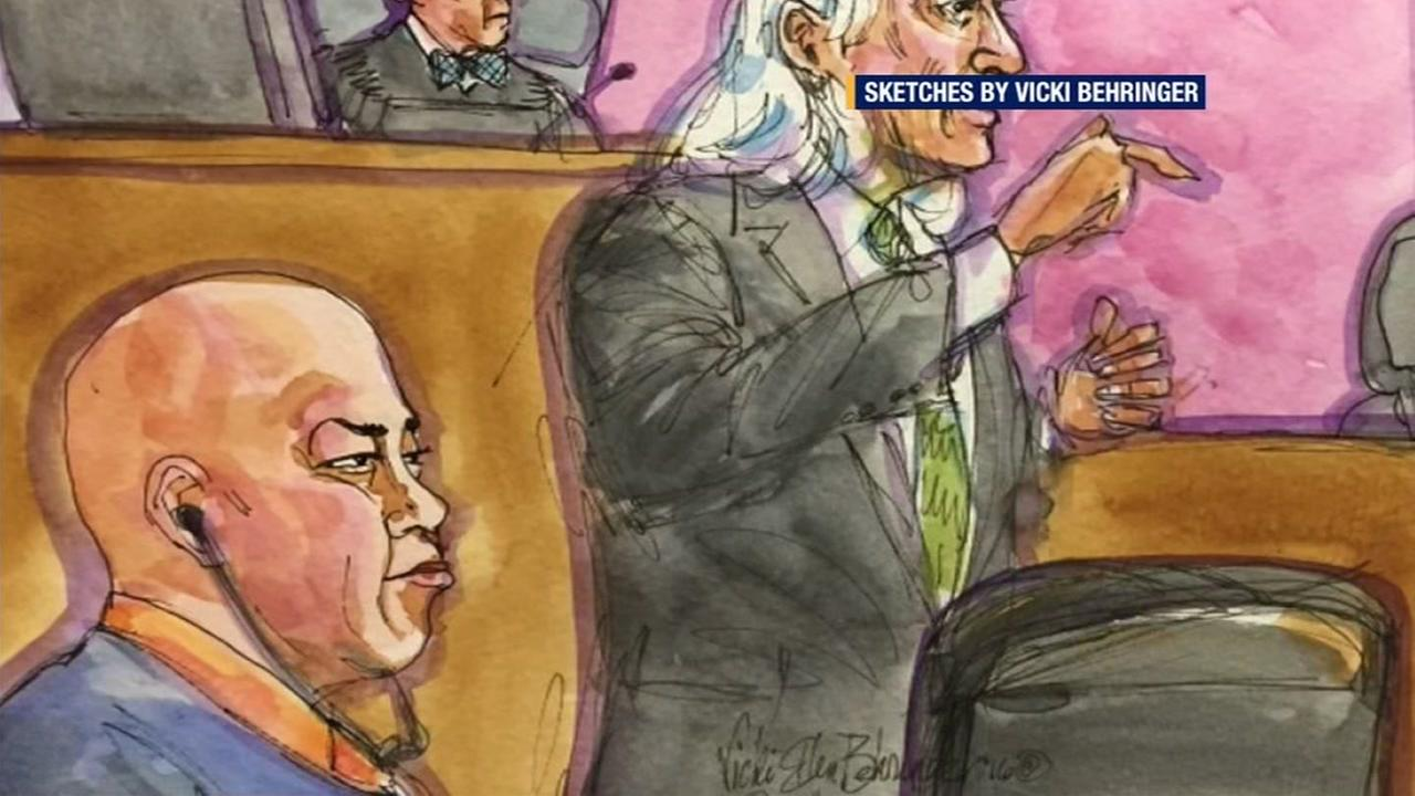 This sketch shows Raymond Shrimp Boy Chow and his attorney in court in San Francisco on January 4, 2016.