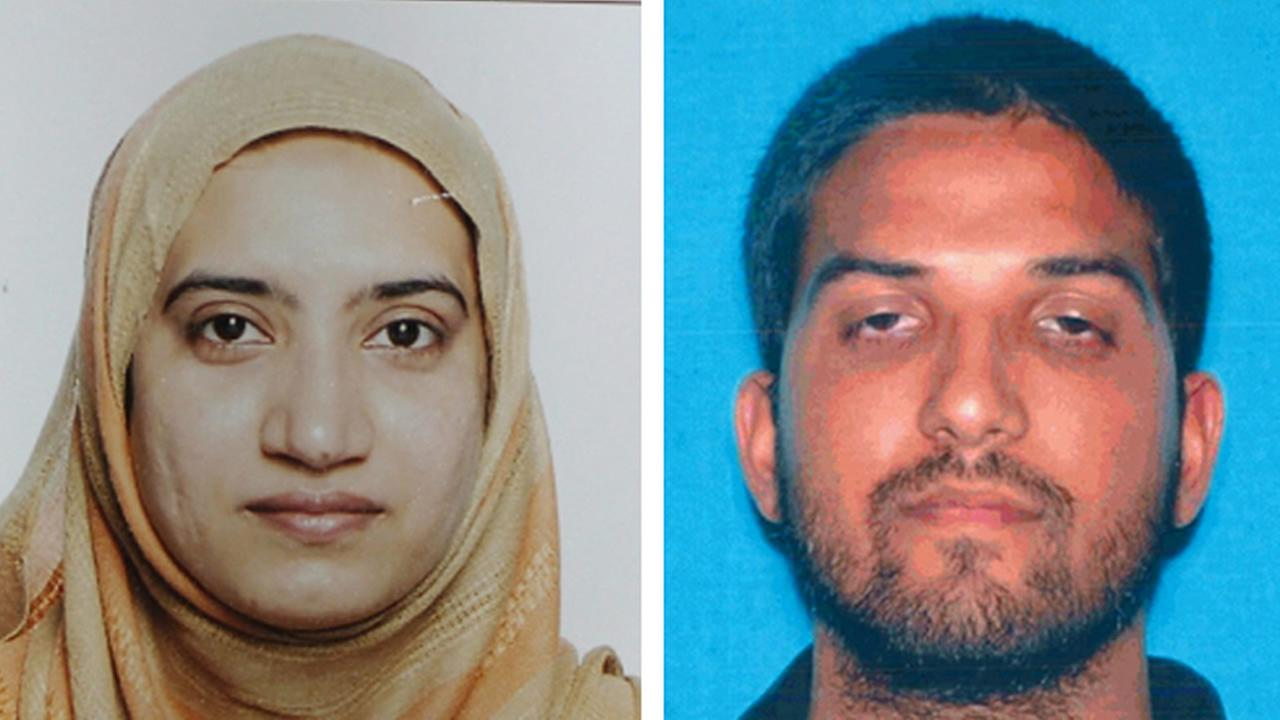 This undated combination of file photos provided by the FBI, left, and the California Department of Motor Vehicles shows Tashfeen Malik, left, and Syed Farook. (FBI, left, and California Department of Motor Vehicles via AP, File)