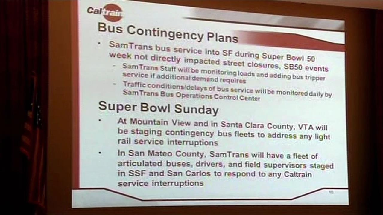 Bay Area transit agencies held a meeting in San Carlos, Calif. on Thursday, January 7, 2016 to discuss planning for Super Bowl 50.