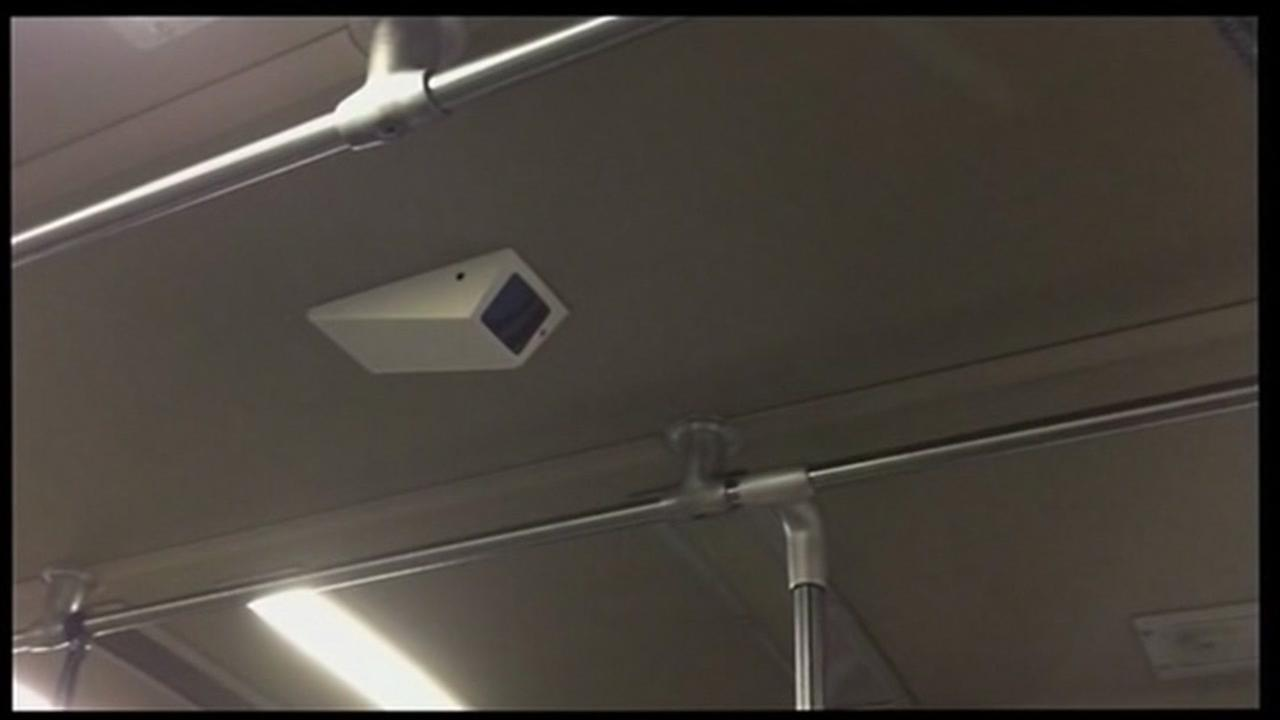 This photo shows a camera on a BART train in Oakland, Calif. on Thursday, January 14, 2016.