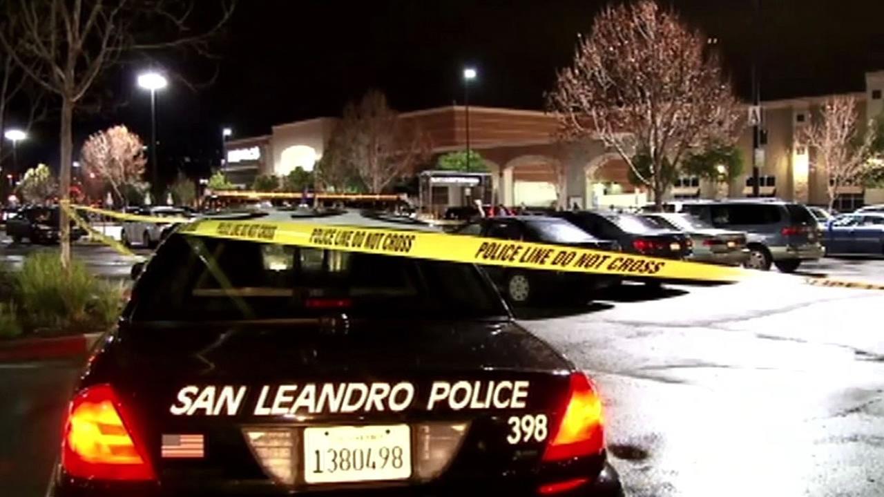 police cars investigating shootout at Bayfair Center