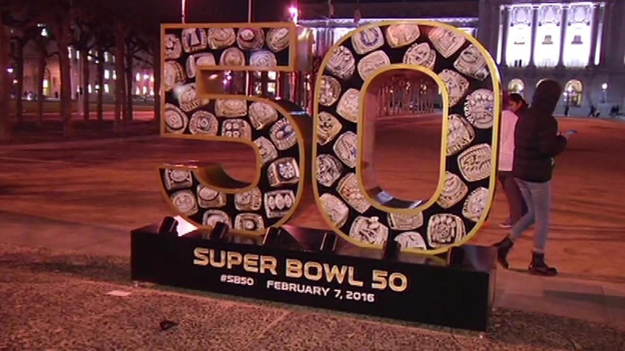 Super Bowl 50 sign outside San Francisco City Hall