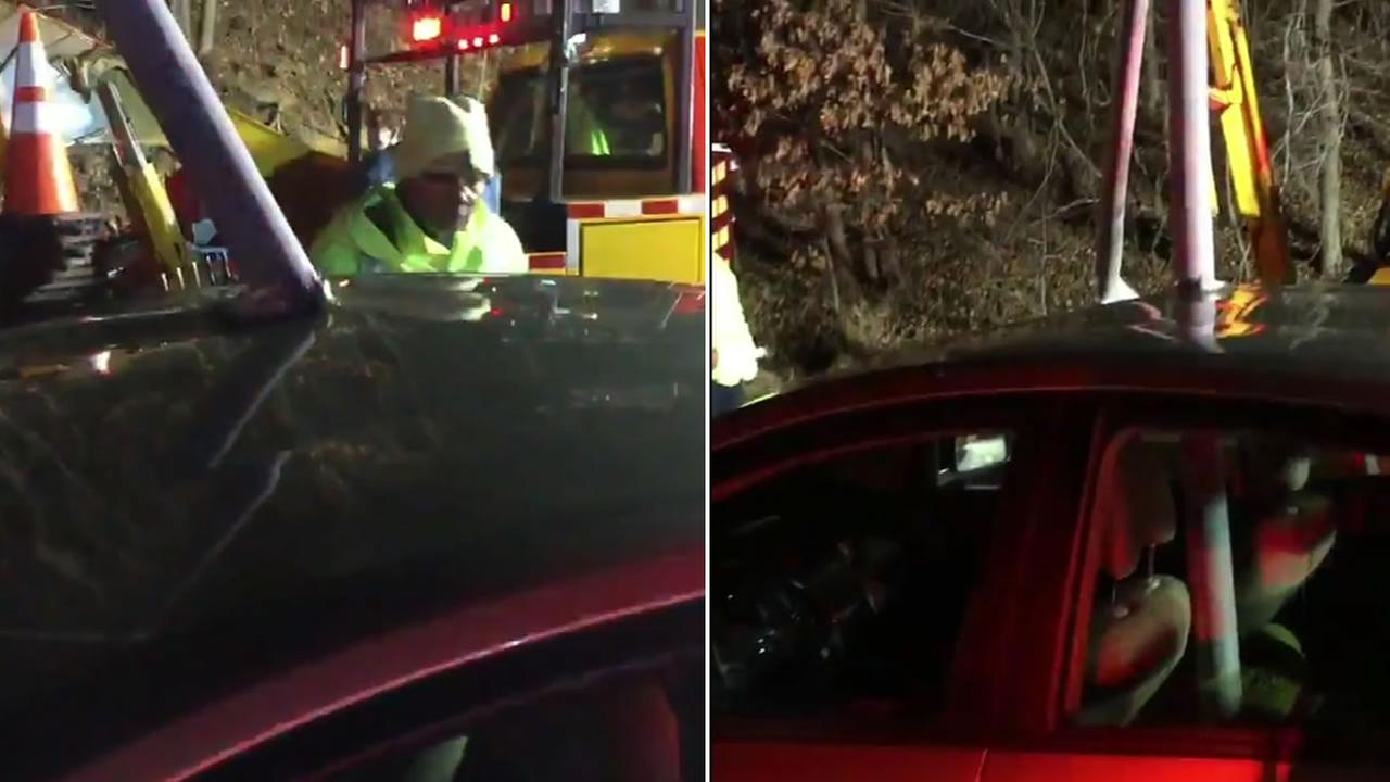 A light pole impaled a car following a traffic accident in Prince Georges County, Maryland.