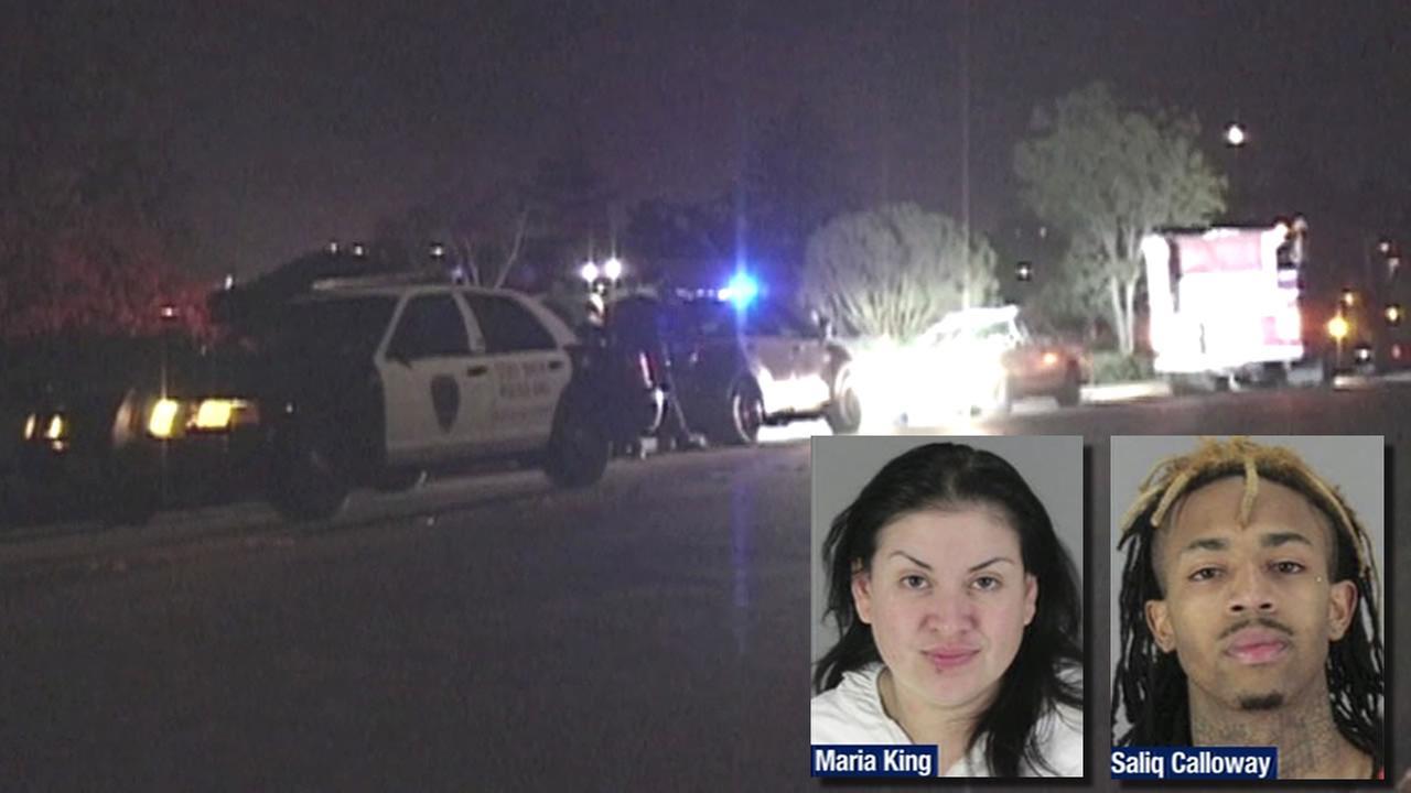 Maria King and Saliq Calloway mugshots, cop car where King was arrested