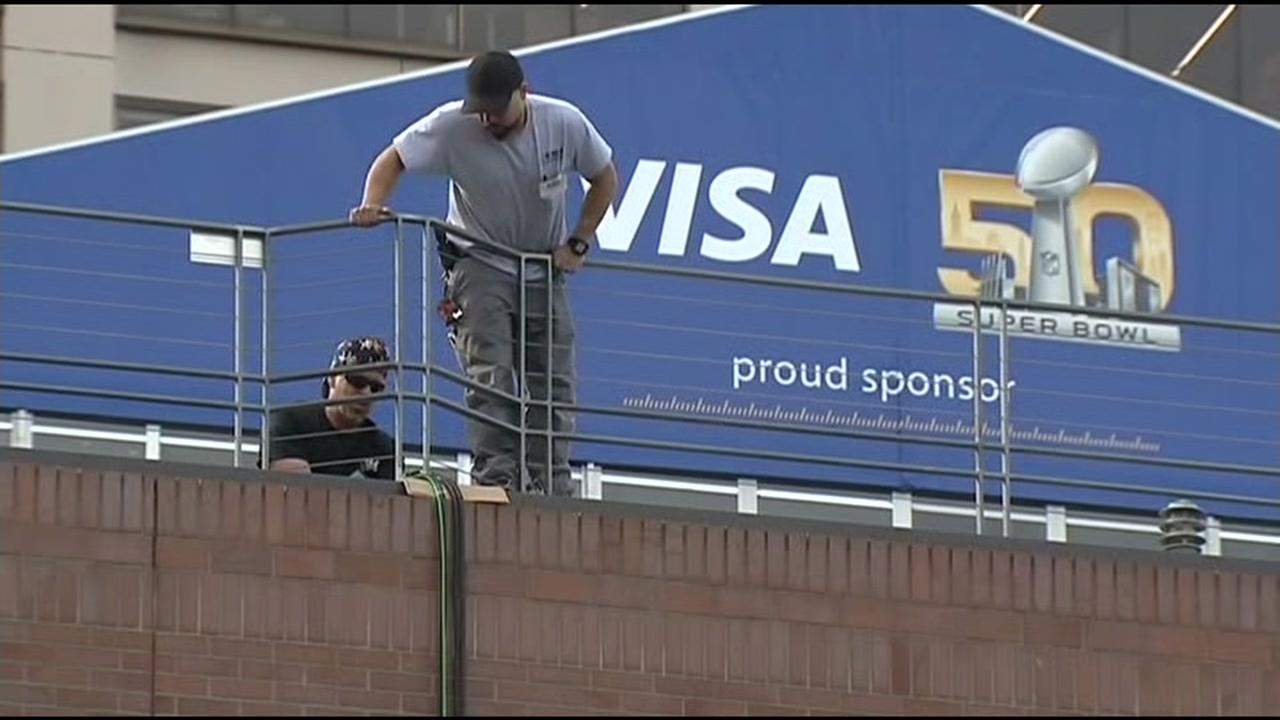 A Super Bowl 50 sign sponsored by Visa is seen in San Francisco on Thursday, January 21, 2016.