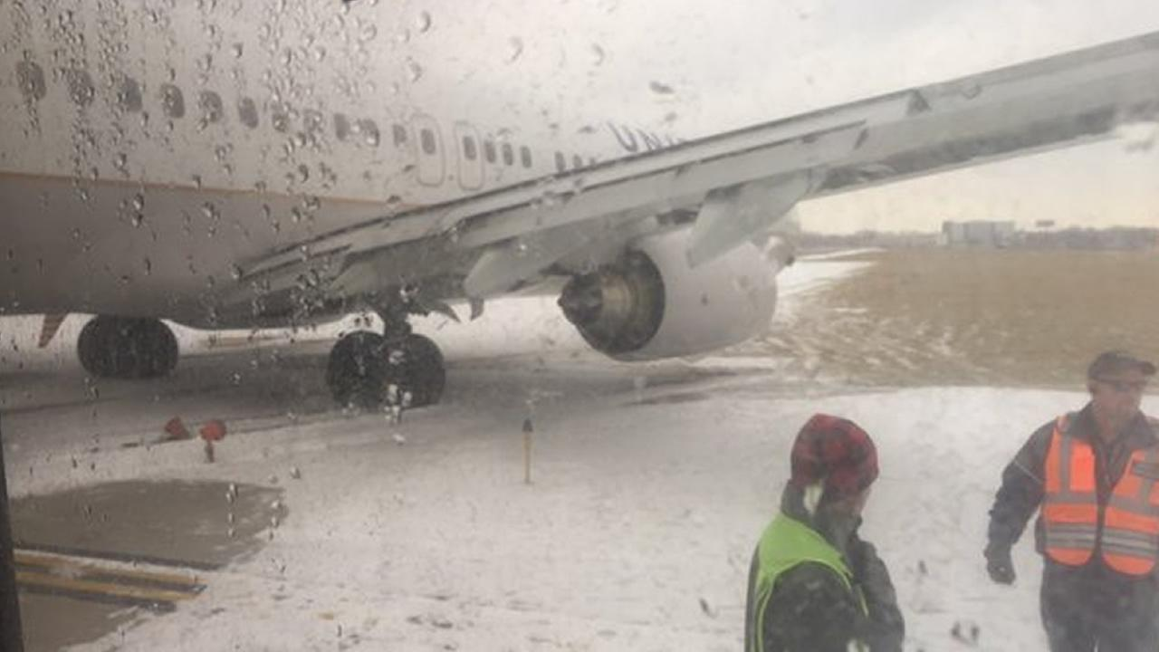 A plane slid off the runway at Chicago OHare International Airport on Friday, January 22, 2016.