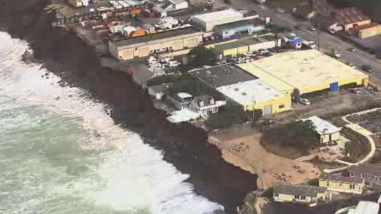 High tides continue to pound the coastal city of Pacifica, Calif., on Saturday, January 23, 2016, which declared a state of emergency on Friday.