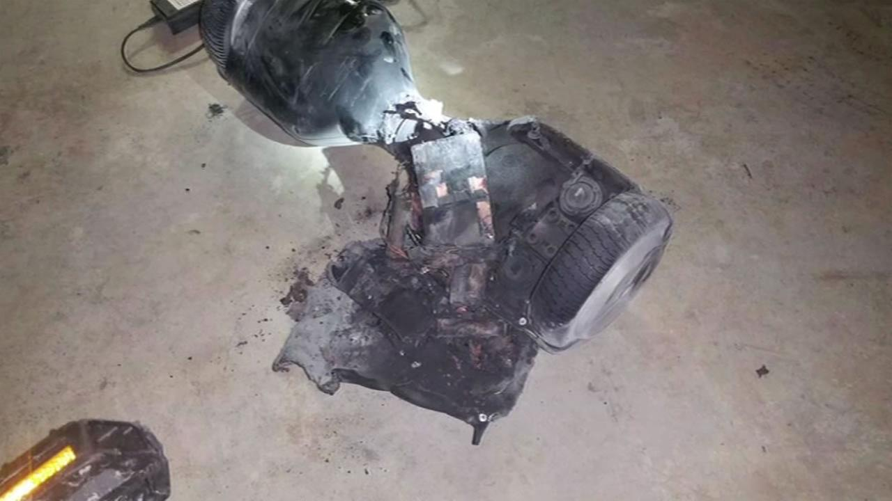A hoverboard exploded and caught fire inside a Petaluma, Calif. home on Tuesday, January 26, 2016.