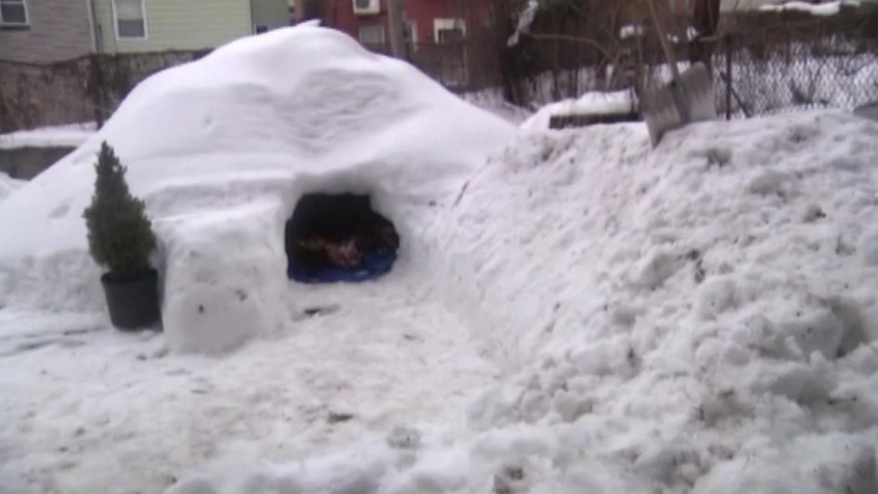 Friends built an ice cave in Brooklyn, New York that they tried to list as a rental on Airbnb, Jan. 26, 2016.