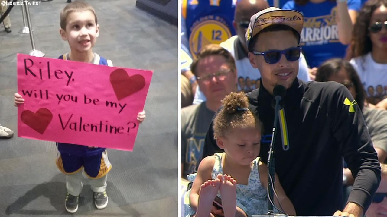 Four-year-old Warriors fan Lucas, left, and Golden State star Steph Curry and his daughter Riley, right.