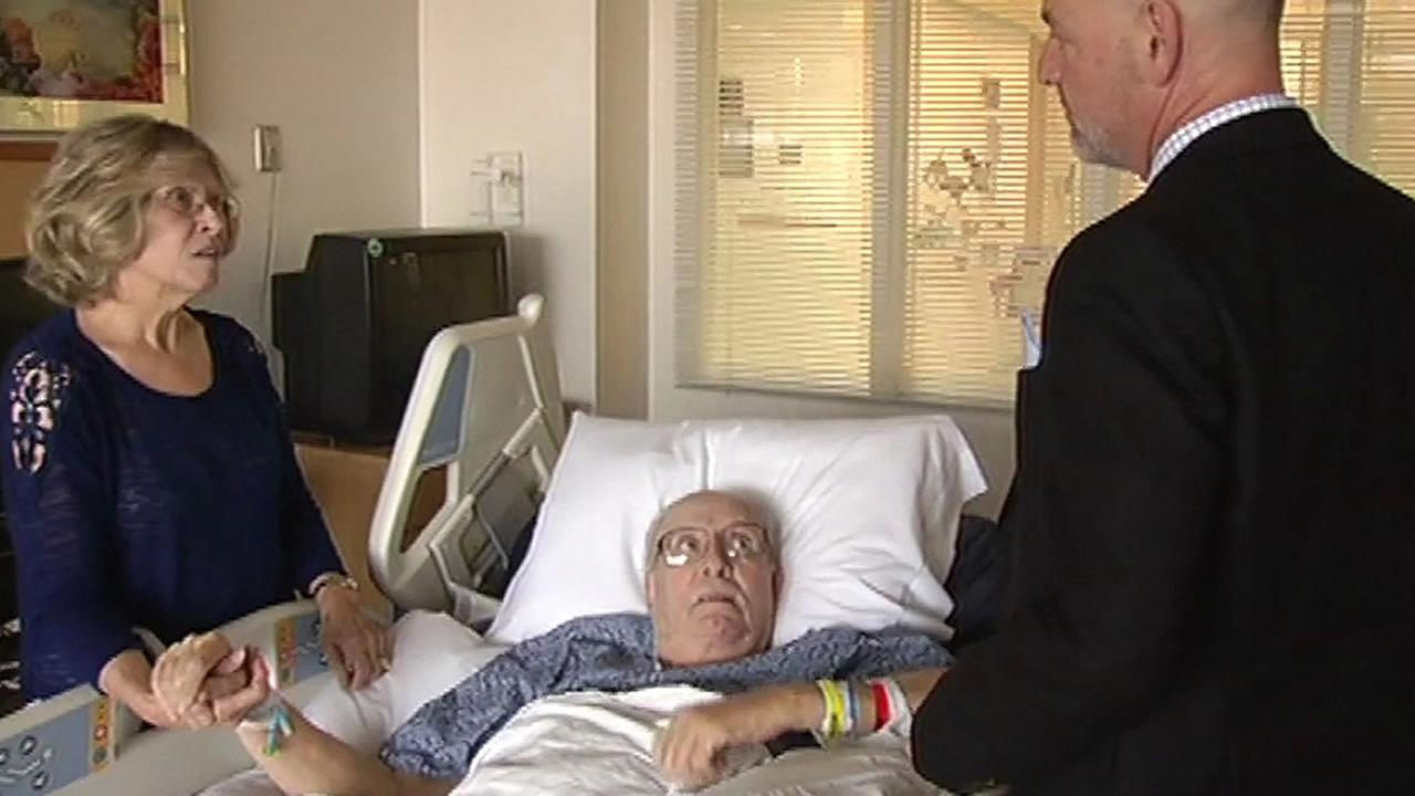 Jerry Matson in a hospital bed