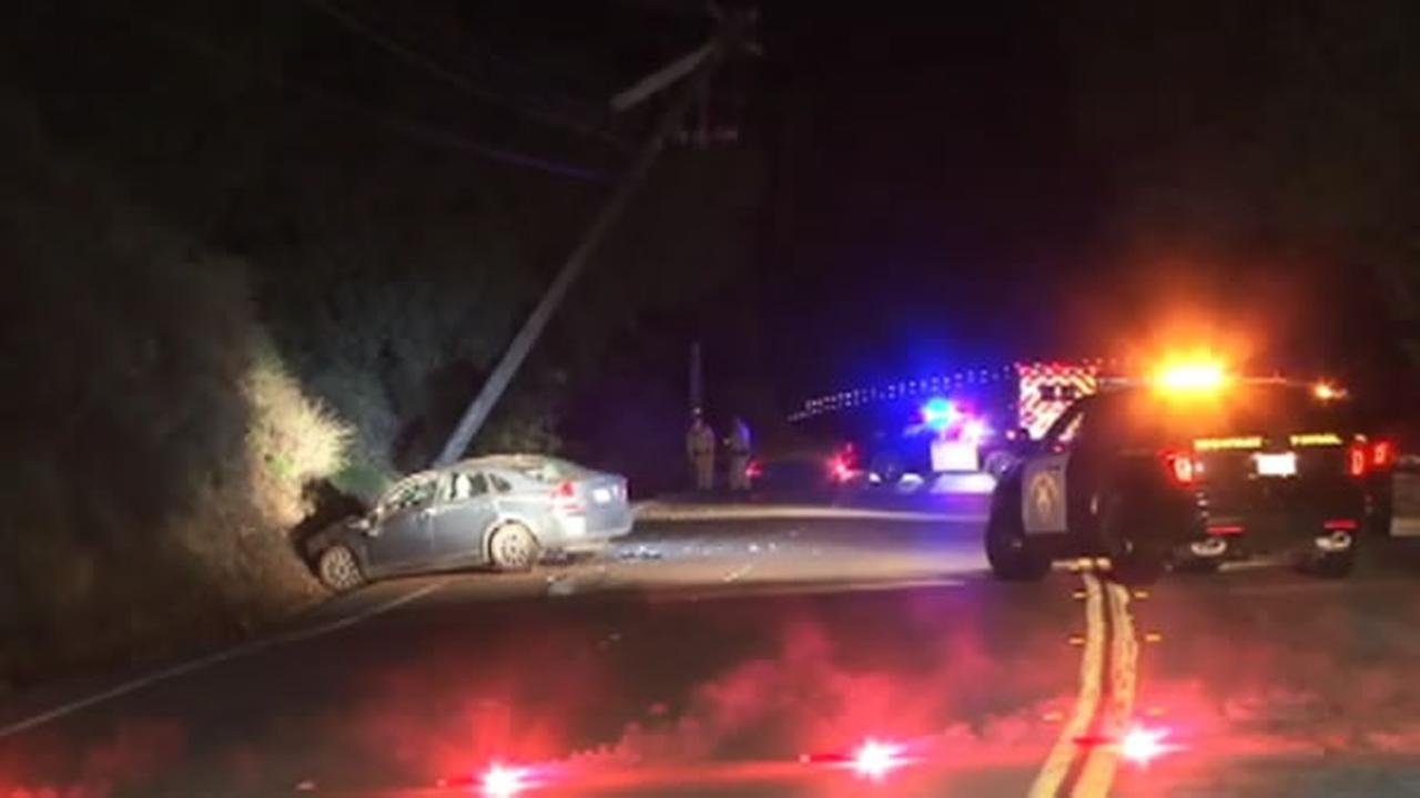 Police were on the scene after a car plowed into a utility pole in Castro Valley, Calif. on Monday, February 1, 2016.