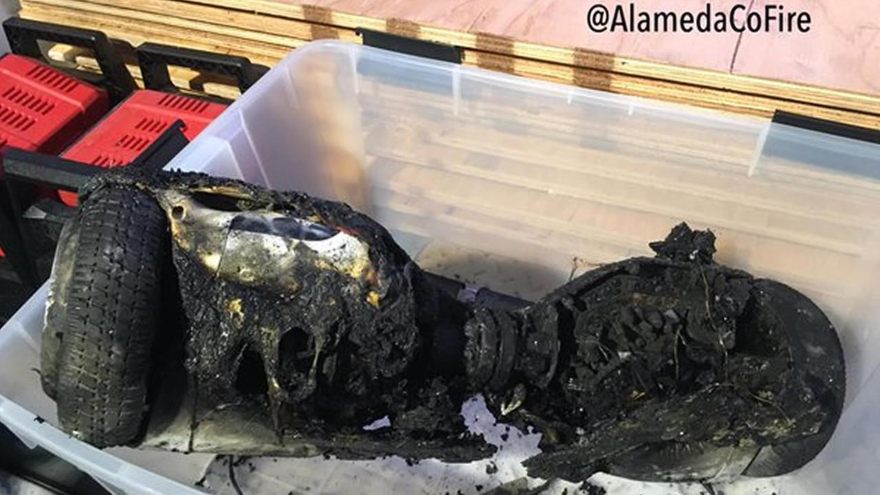 Investigators believe a charging hoverboard sparked a fire that gutted a home in San Leandro, Calif. on January 31, 2016.