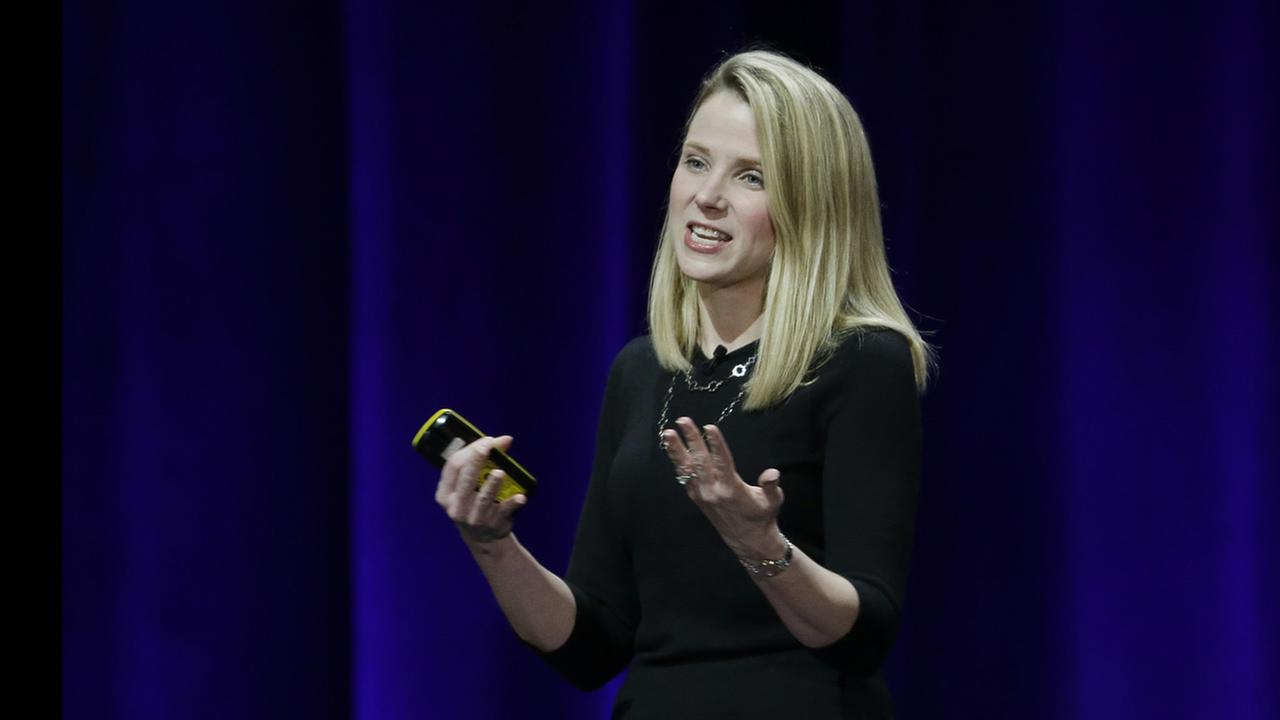 This Feb. 19, 2015 photo, Yahoo President and CEO Marissa Mayer delivers the keynote address at the first-ever Yahoo Mobile Developer Conference in San Francisco.
