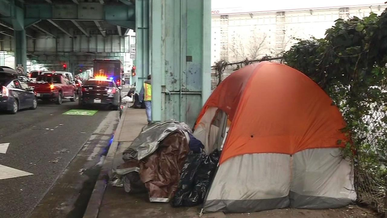 homeless persons tent under a freeway in San Francisco