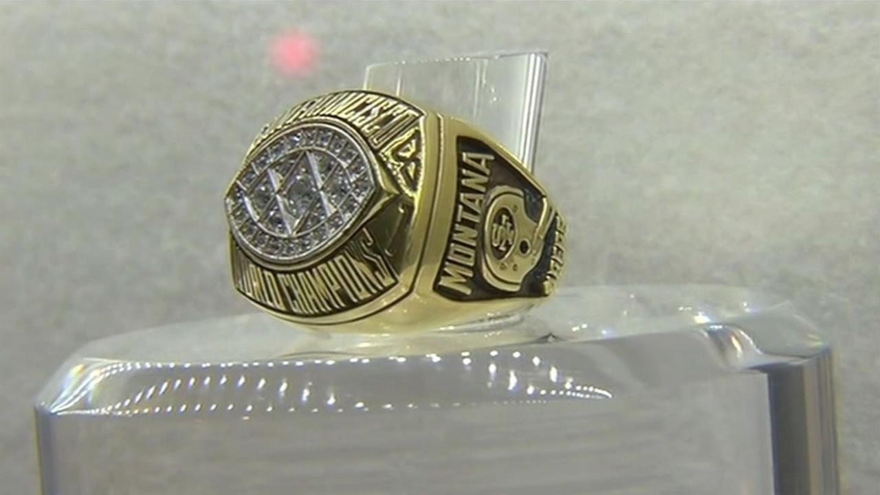 Former 49er Joe Montanas Super Bowl ring is on display at the NFL Experience in San Francisco on Wednesday, February 3, 2016.