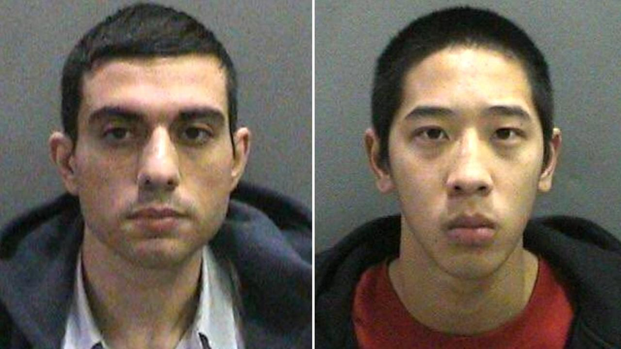 These undated booking photos provided by the Orange County Sheriffs Dept. on Saturday, Jan. 23, 2016, shows 37-year-old Hossein Nayeri, left, and 20-year-old Jonathan Tieu, right.