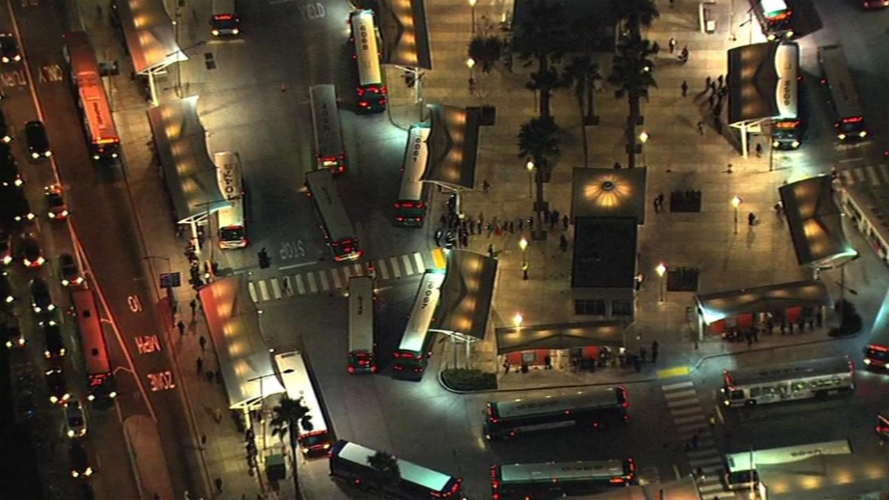 This aerial image shows buses stopped at the San Francisco Transbay Terminal.