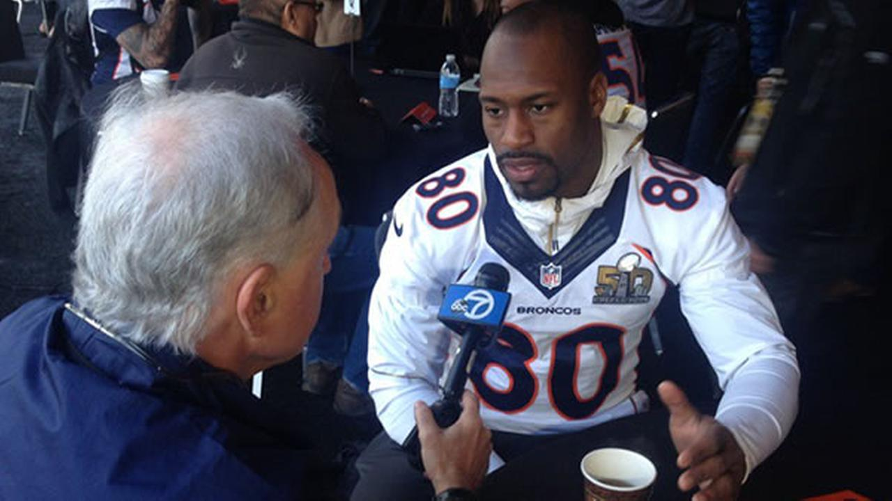 ABC7 News sports reporter Mike Shumann interviews Vernon Davis on Wednesday, January 3, 2016 in Santa Clara, Calif.