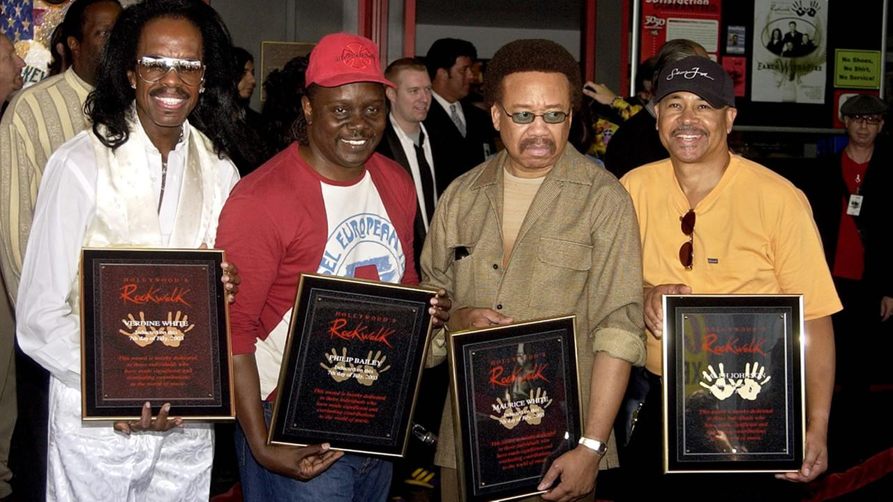 Earth, Wind, and Fire members, from left, Verdine White, Philip Bailey, Maurice White, and Ralph Johnson, at their induction at the Hollywood Rock Walk in Monday, July 7, 2003.