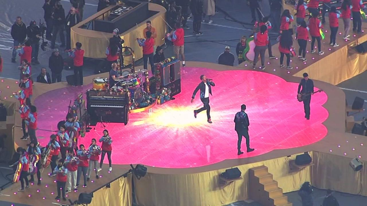 Sky7 HD was over Leviss Stadium as Coldplay rehearsed for the Super Bowl 50 halftime show in Santa Clara, Calif. on Friday, February 5, 2016.