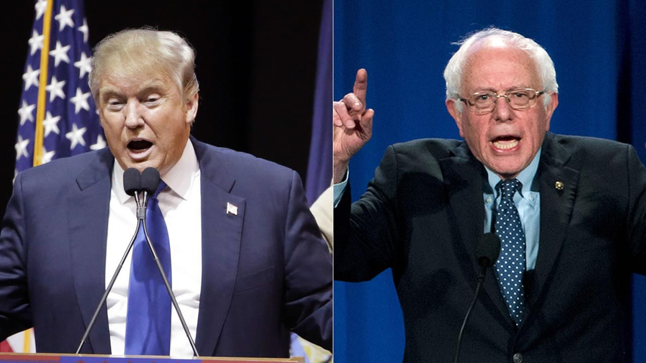 Presidential candidates Donald Trump and Bernie Sanders are hoping for wins in the New Hampshire Primary on Tuesday, February 9, 2016.